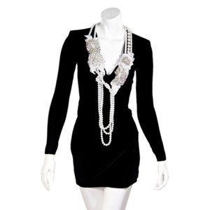 Black Balmain Embellished Velvet Mini Dress